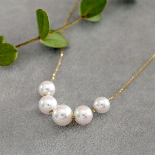 five akoya pearl through necklace-アコヤ真珠5粒スルーネックレス-
