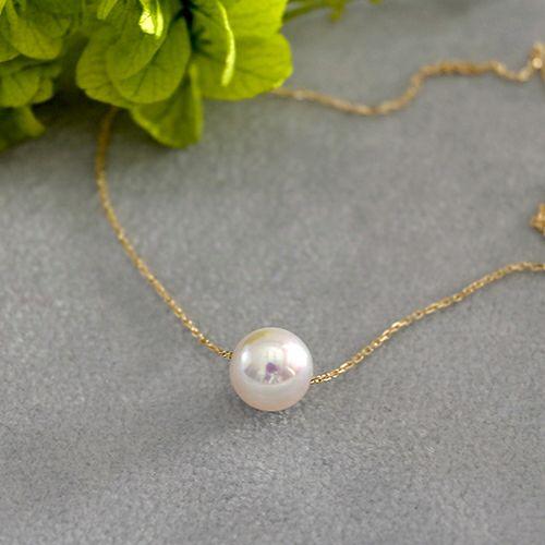 Akoya pearl through necklace-あこや真珠 一粒スルーネックレス-