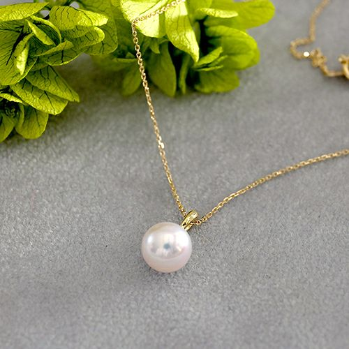 Personalized Charm Necklace - akoya pearl-アコヤ真珠一粒チャーム-